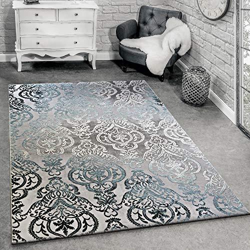 Alfombra De Diseño Moderna para Salón con Dibujo Ornamental Gris Azul, tamaño:160x230 cm