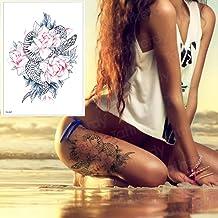 Handaxian 3pcs-Female Leg Tattoo Rose y Snake Tattoo Art Muslo Tattoo Tatuaje Temporal 3pcs-3
