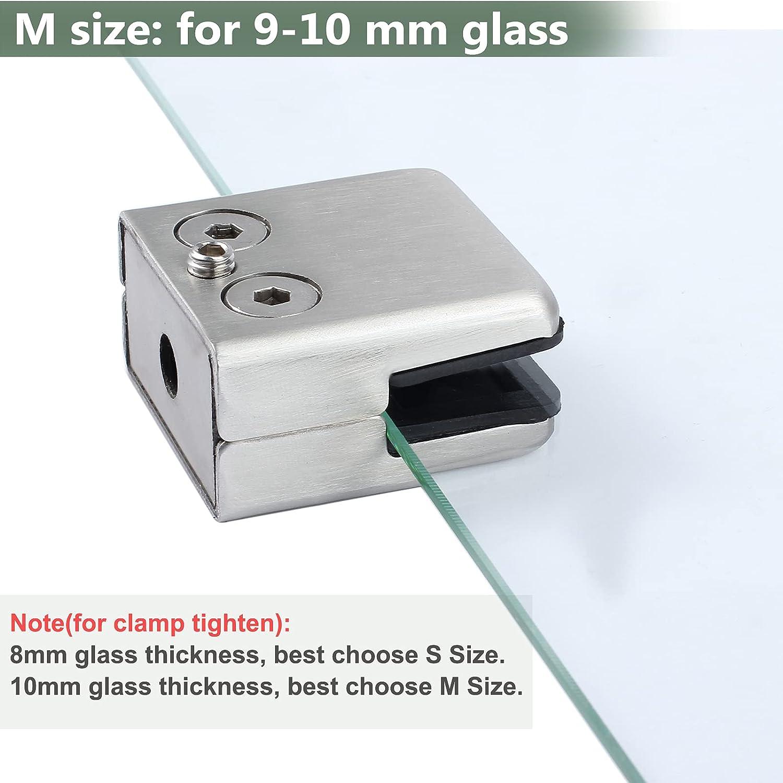 Supporto per vetro Staffa adatti per vetro da 9 10 mm, Pu/ò Essere Utilizzato Allinterno e Allesterno EyPiNS 8PCS Morsetto di Vetro Regolabile in Acciaio Inossidabile 304