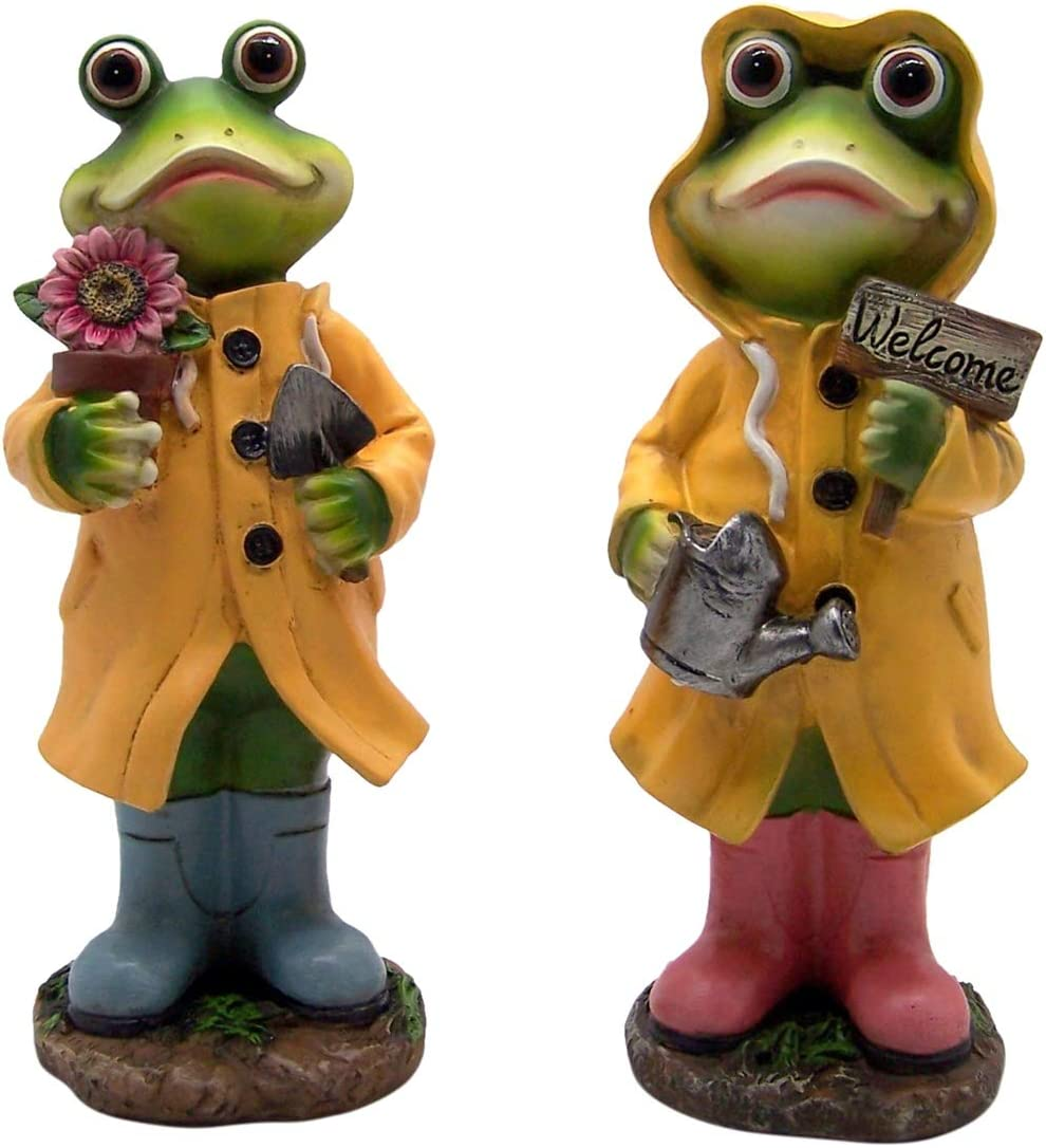 Wowser Cast Resin Colorful Outdoor Decor Frog Garden Statue Decorations, Set of 2, 12 Inch