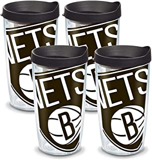 Tervis 1098798 NBA Brooklyn Nets Colossal Tumbler with Wrap and Black Lid 4 Pack 16oz, Clear