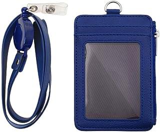 Porte-badge avec fermeture à glissière, porte-carte d'identité, portefeuille avec 5 emplacements pour cartes, 1 poche laté...
