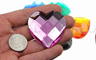 50mm Flat Back Heart Acrylic Rhinestones 2 Inch Costume Making Gems Cosplay Props Embelishments - 2 Pieces (Pink)