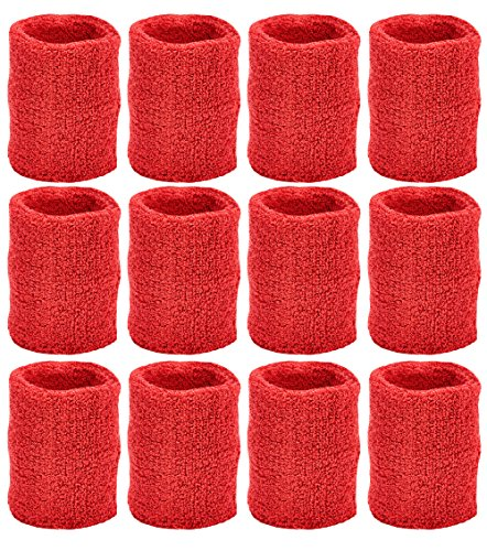 Unique Sports Team Wristbands (Red, 6 Pair)