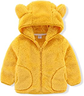 IDOPIP Toddler Girl Fleece Jacket with Hood Baby Autumn Winter Long Sleeve Floral Print Hooded Coat Thick Warm Outerwear 1-6T