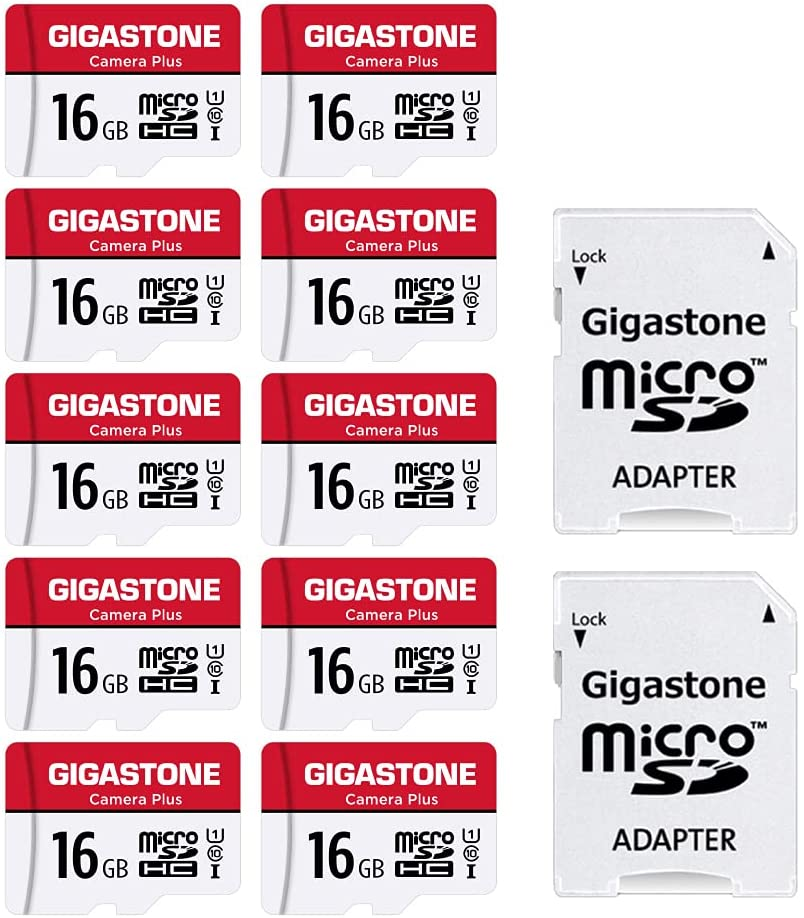 [Gigastone] 16GB 10-Pack Micro SD Card, Camera Plus, MicroSDHC Memory Card for Wyze Cam, Security Camera, Full HD Video Recording, UHS-I U1 Class 10, up to 85MB/s, with MicroSD to SD Adapter