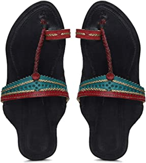 KALAPURI� Ladies Kolhapuri Chappal in Genuine Leather with Black Pointed Shape Base and Multi Colour Upper. Handmade in Ko...