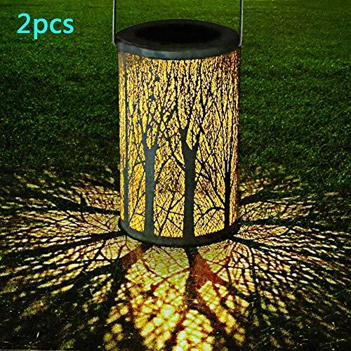 YAOLAN 2 Stück Solarlaterne für außen IP44 Wasserdicht Dekorative LED Auto EIN/Aus für Draussen Garten [Energieklasse A+]