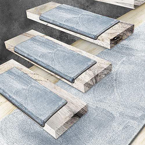 Floordirekt Velours-Stufenmatten Sundae   Halbrund oder Eckig   Treppenmatten in 6 Farben   Strapazierfähig & pflegeleicht   Stufenteppich für Innen (Hellblau, Halbrund 65 x 23,5 cm)