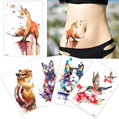 5 Sheets Watercolor Drawing Animal Body Tattoo Temporary Leg Back Art Sticker DIY