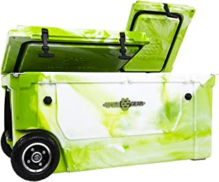 WYLD 75 Quart Dual-Compartment Insulated (Green/White) Cooler w/Wheels & Tap Kit! Aerator Port Kit & Rod Holder Available for Camping Fishing Boating & Tailgating