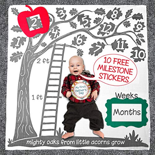 """Super Soft Baby Monthly Milestone Blanket Set: Large 47x47"""" Blanket with Bonus Props and Stickers"""