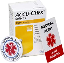 Accu-Chek Softclix Lancets, Sterile 200 Pieces, Pain-Free, Made in Germany. Free Medical Alert ID Card and Button Pin Included.