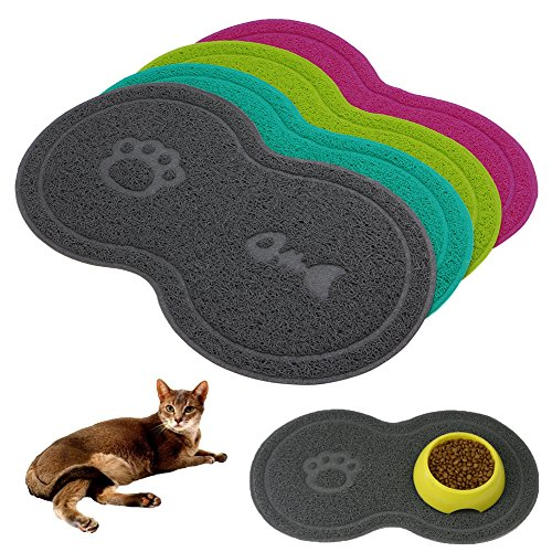 BMBN Mantel Individual, Alfombrilla para Cuenco para Gatos Perro Alimentador de Mascotas Agua Plato de Comida Bandeja Limpiar el Piso...