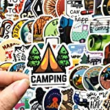BLOUR 50 Uds Pegatinas de Camping al Aire Libre DIY para cámara Casco Coche monopatín Equipaje Botella de Agua Ordenador portátil Pegatinas Impermeables