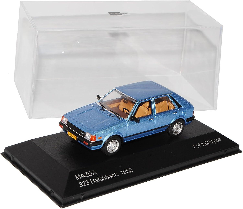 Weißbox Mazda 323 5 Türer Hatchback Blau 2. Generation 1980-1985 1 43 Modell Auto mit individiuellem Wunschkennzeichen B01IE0ERC4  Komfort | Große Ausverkauf