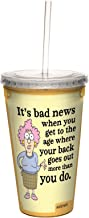 Tree-Free Greetings cc33758 Hilarious Aunty Acid Double-Walled Cool Cup with Reusable Straw, Bad News, 16-Ounce