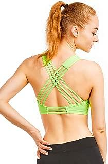 ET|TU Women's Cross Back Sports Bra - Padded Support Seamless Yoga Gym Fitness Bras