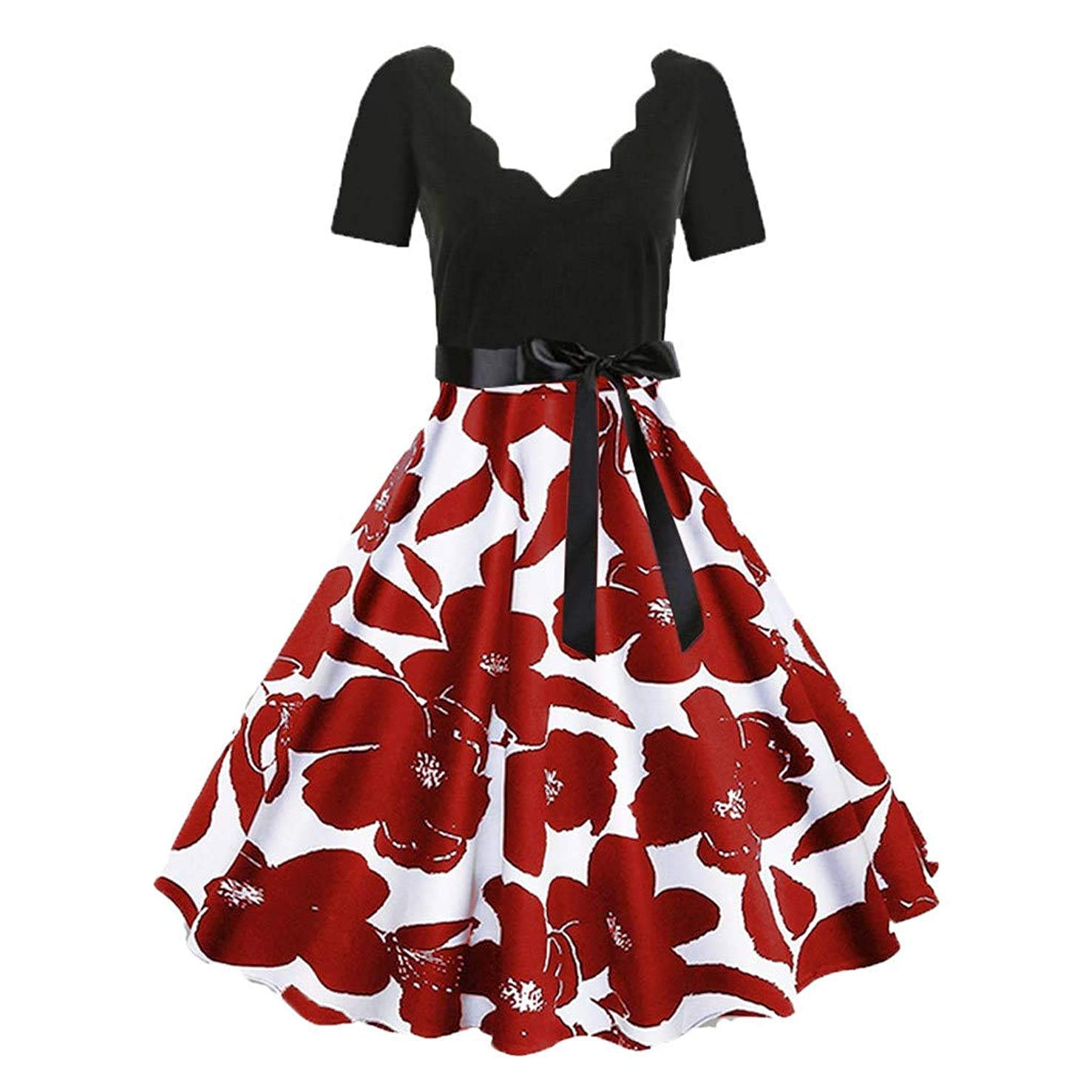 KASAAS Floral Print Vintage Dress for Women Short Sleeve V-Neck Tie-Bow Retro Flare A-Line Dresses