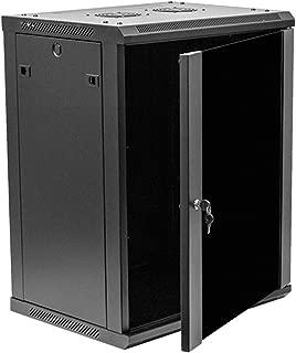 NavePoint 15U Deluxe IT Wallmount Cabinet Enclosure 19-Inch Server Network Rack With Locking Glass Door 16-Inches Deep Black