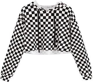 Kids Crop Tops Girls Sweatshirts Long Sleeve Plaid Hoodies