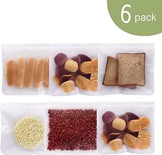 Srinea Reusable Storage Bags (6 Pack) PEVA Ziplock for Food, Lunch Sandwich Bag, Kids Snack Bags, Travel Bag with Zipper, Seal Lock Top Freezer Safe Bags