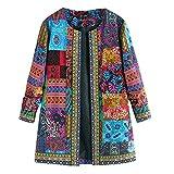 Amlaiworld Abrigo de Estilo étnico Vintage para Mujer Abrigo de Chaqueta de algodón de Talla Grande con Estampado Floral de Invierno
