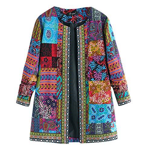 Vrouwen Vintage Losse Pullover, Dames Vintage Etnische Stijl Bloemen Print Katoen Jas, Lange Mouw Plus Size Blouse