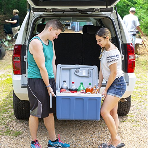 K-Box Electric Cooler and Warmer with Wheels for Car and Home - 48 Quart (45 Liter) - 6 FT. Extra Long Cables Dual 110V AC House and 12V DC Vehicle Plugs, All American (Red White Blue)
