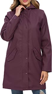 Fahsyee Women's Rain Jacket, Raincoat Windbreaker Rain Coat Hooded Waterproof Outdoor Long Active