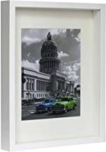 BD ART Box 3D Picture Frame White 11x14 (28 x 35 x 4.7 cm) with Mount 8x10 inch, Glass Front
