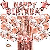 Decoración de Fiesta de Cumpleaños en Oro Rosa,Globos de Látex con Lentejuelas,Globos de Látex con Lentejuelas,Globos de Corazón/Estrella,Cortina de Flecos,Suministros para Fiesta de Cumpleaños