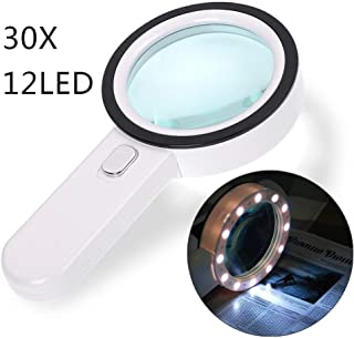 Magnifying Glass 30X, Large Magnifier with Light, LED Illuminated & Handheld, Premium High Power Magnify Glass for Reading Books, Seniors, Macular Degeneration, Stamps