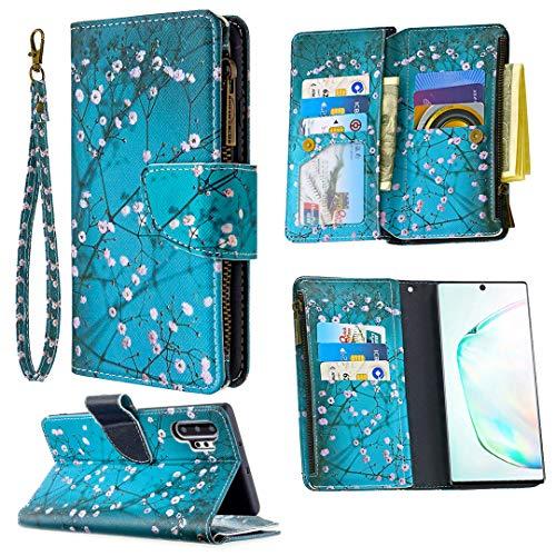 Nadoli Reißverschluss Brieftasche Etui für Samsung Galaxy Note 10 Plus,Bunt 9 Karte Halter Pu Leder Pflaumenblütenblume Entwurf Lanyard Magnetisch Standfunktion Flip Schutzhülle