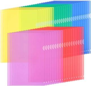 ZCZN 45 Pcs Chemises Plastique, Dossier Pochette A4 Pochette Document Personnalisable de 5 Couleurs Vives Transparent Plas...