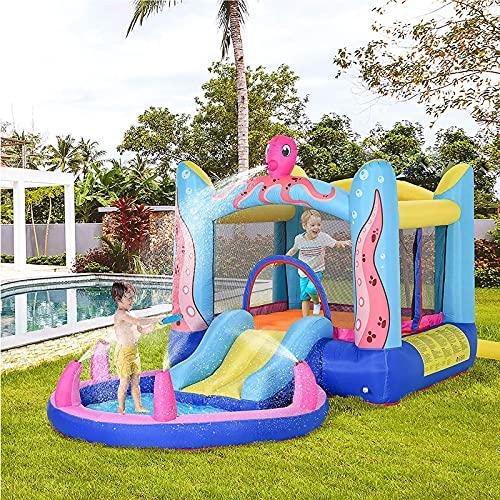 YQZ Piscina de Agua con tobogán Inflable de casa de Castillo de Rebote para niños 3 en 1 con inflador para niños de 3 a 12 años de Edad