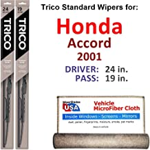 Wiper Blades for 2001 Honda Accord Driver & Passenger Trico Steel Wipers Set of 2 Bundled with Bonus MicroFiber Interior Car Cloth