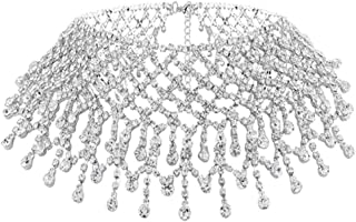 Rhinestone Choker Necklace Silver Crystal Tassel Necklaces Chain Boho Jewelry for Women and Girls