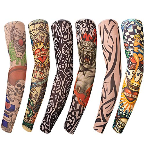 Benbilry 6 Stück Tattoo Ärmel Tattoo Armstrumpf Tatoo Armstrümpfe Arm Tattoo Strumpf Unisex Nylon Temporäre Tattoos Arm Tätowierung Armstrümpfe Tattoo Strumpf Arm für Karneval Fasching Party