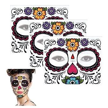 Sugar Skull Temporary Tattoo Floral Design  3 Tattoo Kits