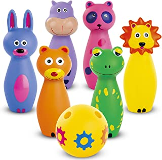 Bundaloo Kids Bowling Set Game 7-Piece Pin Bowling - Colorful Indented Ball and 6 Animal Pins - Soft Durable Indoor and Outdoor Toys for Toddlers and Children - Best Gifts for Girls and Boys