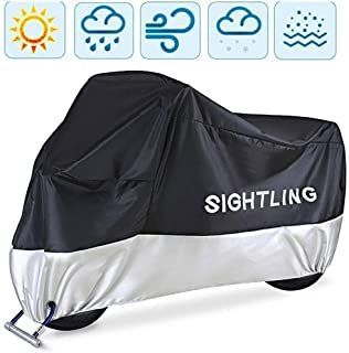 Motorcycle Cover, SIGHTLING All Season 210D Waterproof Motorbike Covers with Lock Holes, Fits up to 96.5