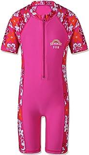 TFJH Little Girls' Long Sleeve Swimsuit UPF 50+ Rashguard 3-4Y(Tag No.92/98) HotPink Short A