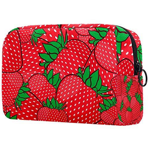 Kosmetiktasche Erdbeerrot Make-up Tasche Schminktasche Kulturbeutel Kulturtasche für Frauen Damen Waschtasche Reise Waschbeutel Toilettentasche 18.5x7.5x13cm