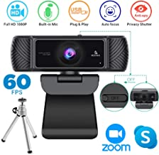 $79 » 2020 1080P 60FPS Webcam with Microphone, Privacy Cover and Tripod, NexiGo Pro USB HD Computer Web Camera w/Mic Video Cam for Skype Zoom Streaming Gaming Conferencing, Mac PC Laptop Desktop
