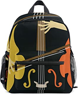 Mini Backpack with Abstract Cello Player Print, School Bag for 1-6 Years Old