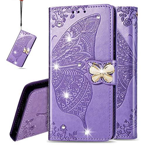 IMEIKONST Portafoglio Case per LG G8 ThinQ, Bling Diamante Embossed Cassa Pelle PU con Porta Carte di Credito Magnetica Flip Stand Caso per LG G8 ThinQ Cystal Butterfly Lavender SD