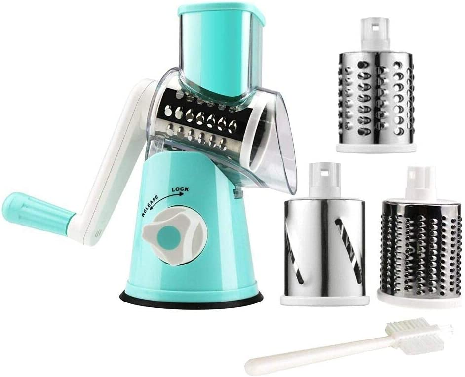 Manual Rotary Cheese Grater Round Vegetable Potato Carrot Mandoline Slicer Nuts Grinder...