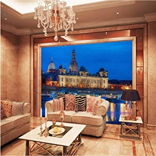 Dalxsh Photo Wallpaper European Harbor City Night Decorative Mural Restaurant Hotel Living Room Cafe Office Wallpaper -280X200Cm