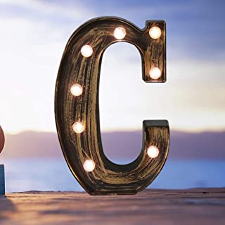 Industrial LED Marquee Letter Lights 26 Alphabet Light Up Name Sign Vintage Style Letter Lamp for Birthday Party Christmas Perfect for Events or Home Bar Decor(Letter C)